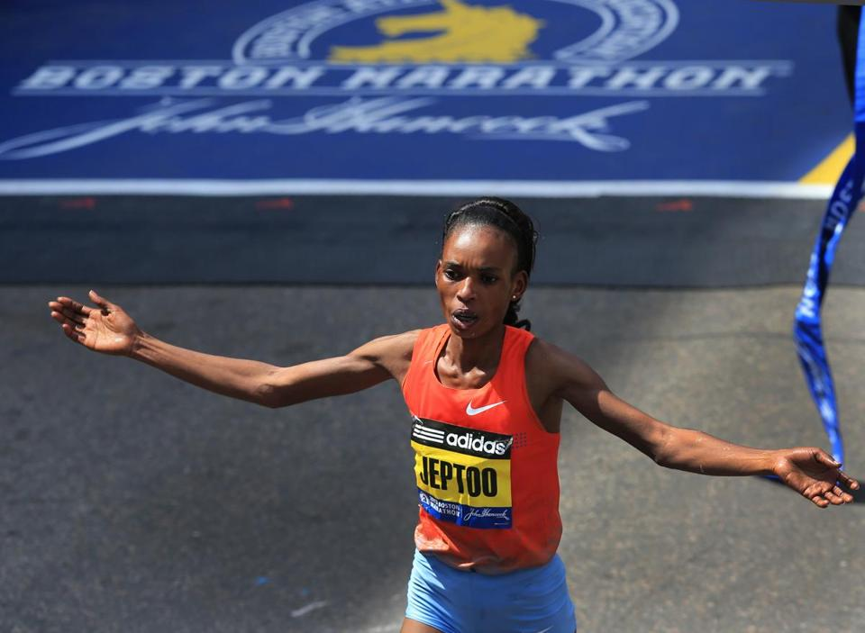 Rita Jeptoo crossed the finish line for her second title in Boston.