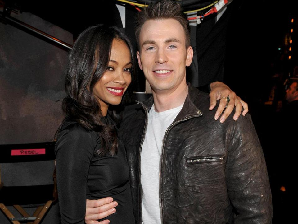 Zoe Saldana and Chris Evans.
