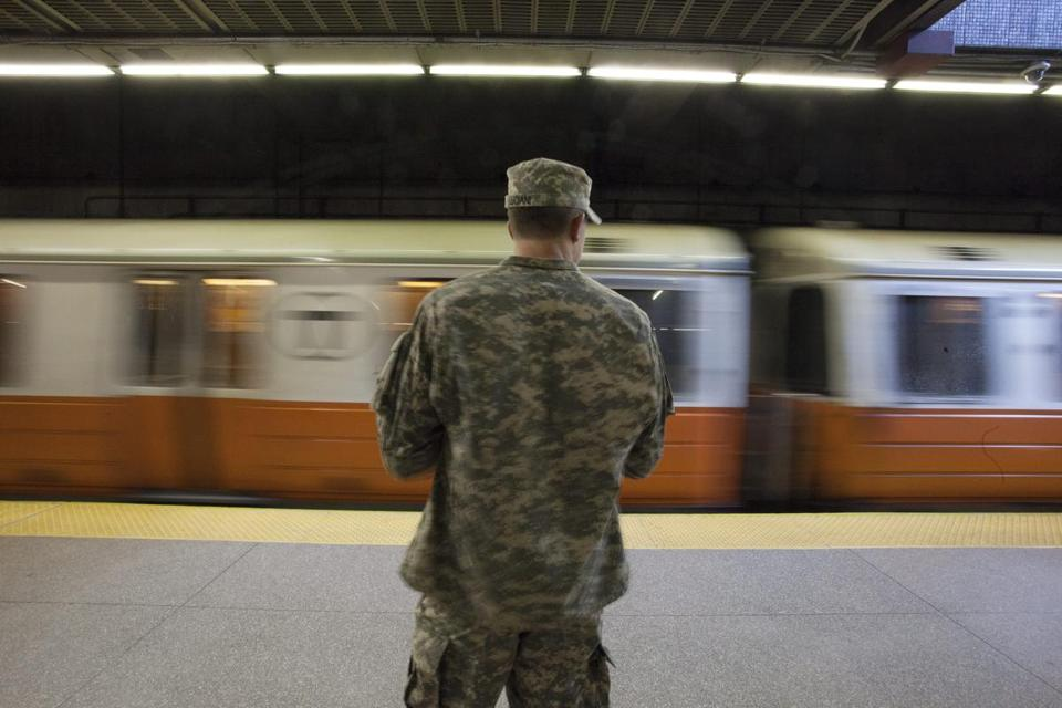 A Massachusetts National Guardsman stood watch in Back Back Station Tuesday morning.