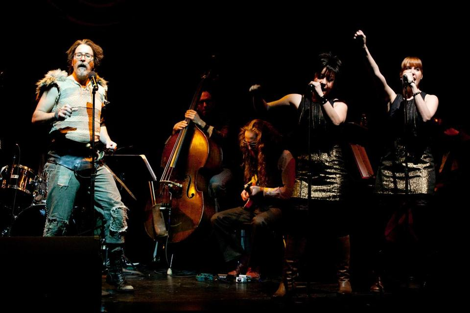 "From left: Jason Craig, Anna Ishida, and Shaye Troha in ""Beowulf: A Thousand Years of Baggage."""