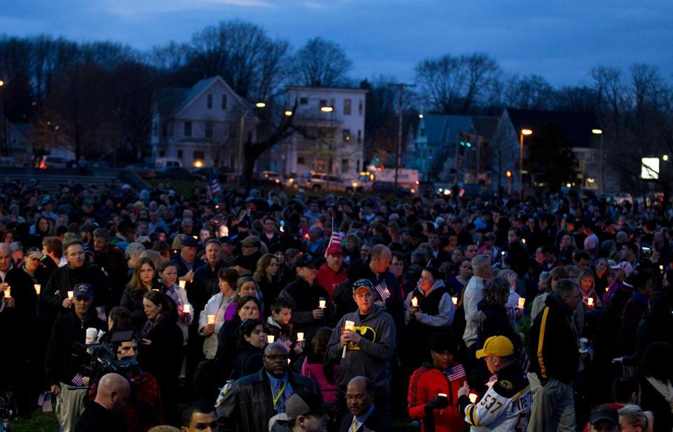 Garvey Park in Dorchester was nearly filled with people during the vigil for Martin Richard, who was killed in Monday's blasts.