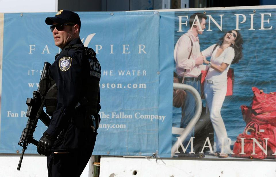 An officer patrolled outside the courthouse Wednesday afternoon.