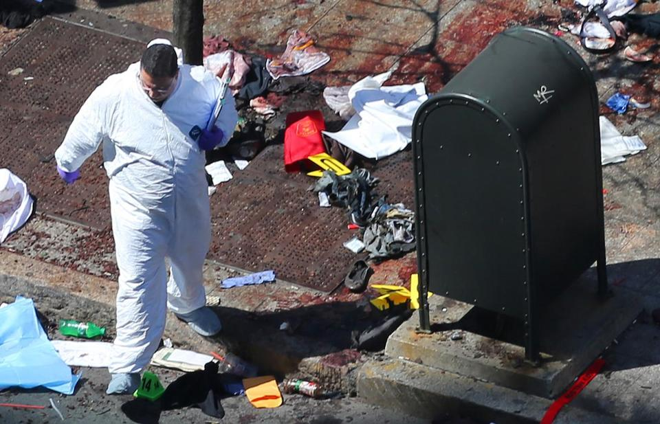 Remnants of a backpack next to the mailbox at site of the second bomb explosion in a photo taken on Tuesday.