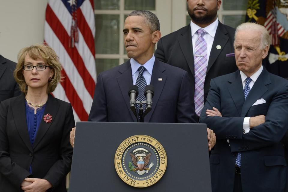 President Obama, flanked by Gabrielle Giffords and Vice President Joe Biden, spoke after the Senate rejected the gun measure.