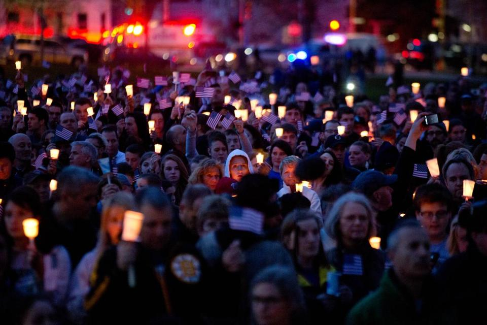 Mourners attended a candlelight vigil for Martin Richard at Garvey Park, near his home in Dorchester.