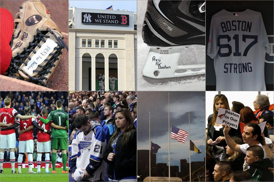 (Top row): Ben Revere of the Phillies remembered Boston; in New York, the Sox-Yankees rivalry was a show of solidarity; Waltham's Keith Aucoin skates for the Islanders; in Cleveland, the Red Sox were a show of strength; (bottom row) English Premier League players to NHL fans from St. Louis to Phoenix banded together; and the flags at Pittsburgh's PNC Park were at half-staff.