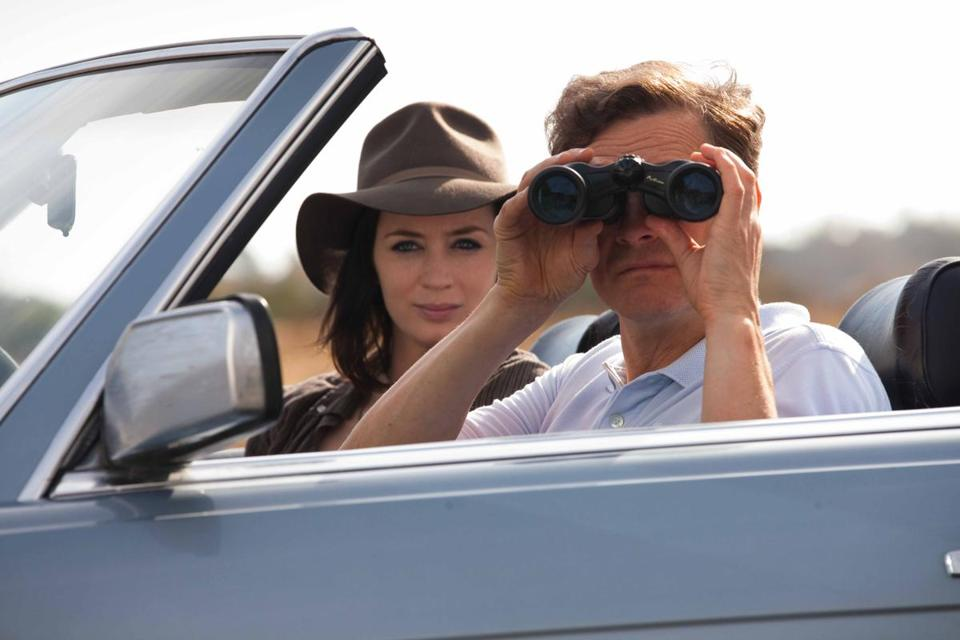 "Colin Firth (with Emily Blunt) plays a man who takes on a new identity in ""Arthur Newman."""