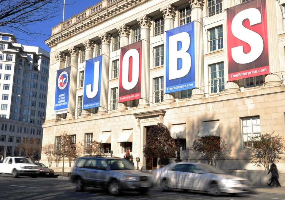 A jobs sign hung above the entrance to the US Chamber of Commerce building in Washington, D., in 2011.