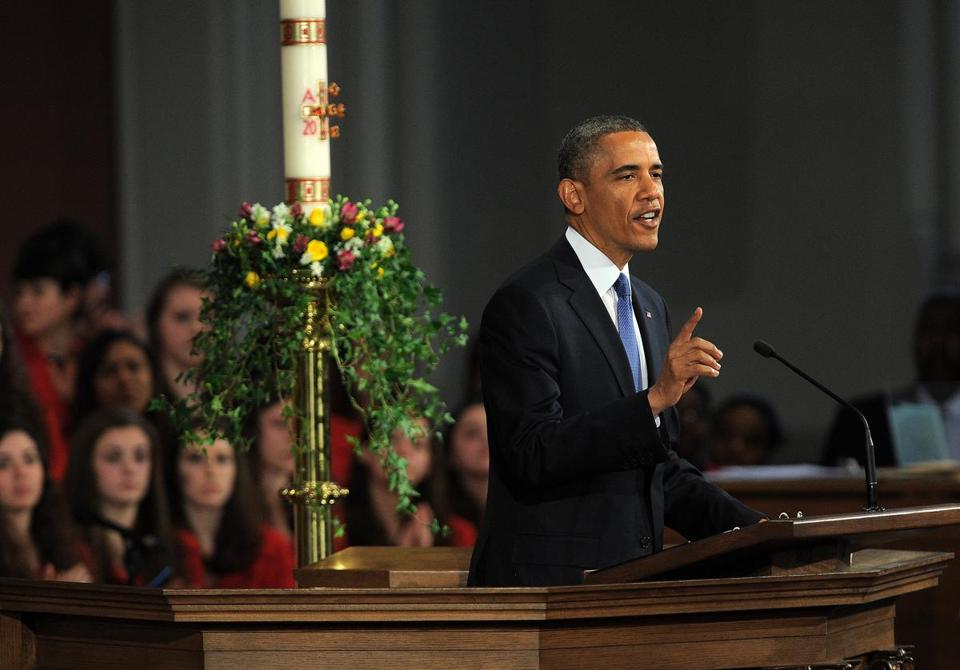 US President Barack Obama spoke at the interfaith service.