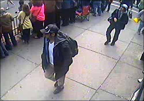 The FBI today released photos and video of two suspects in the deadly Boston Marathon terror bombings case, appealing to the public to help them to find them.