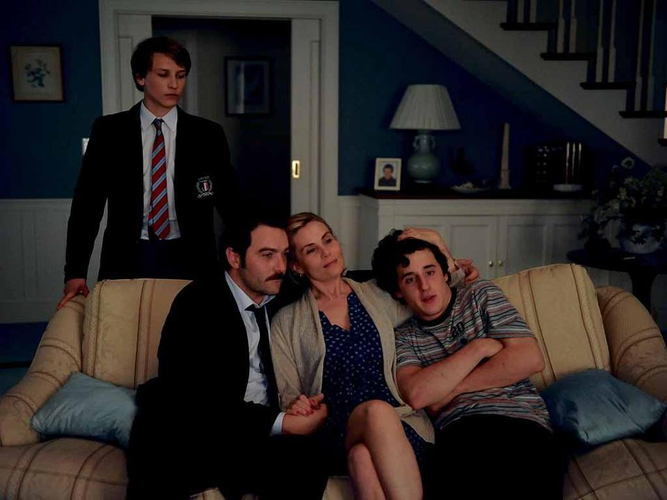 "From left: Ernst Umhauer, Denis Ménochet, Emmanuelle Seigner, Bastien Ughetto in François Ozon's ""In the House."""