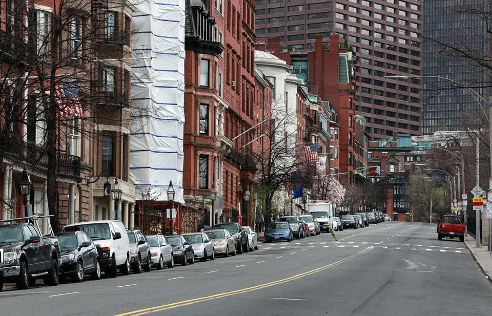 Beacon Street in Boston was empty Friday afternoon.