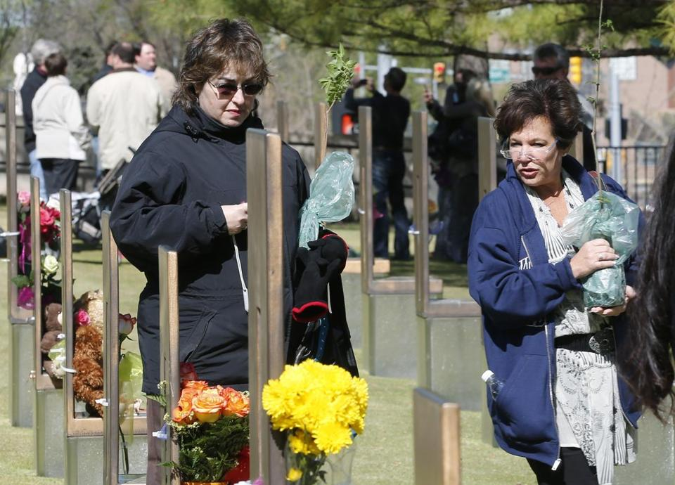 Visitors to Oklahoma City paid tribute to 168 people killed April 19, 1995, in a bombing at the federal building there.