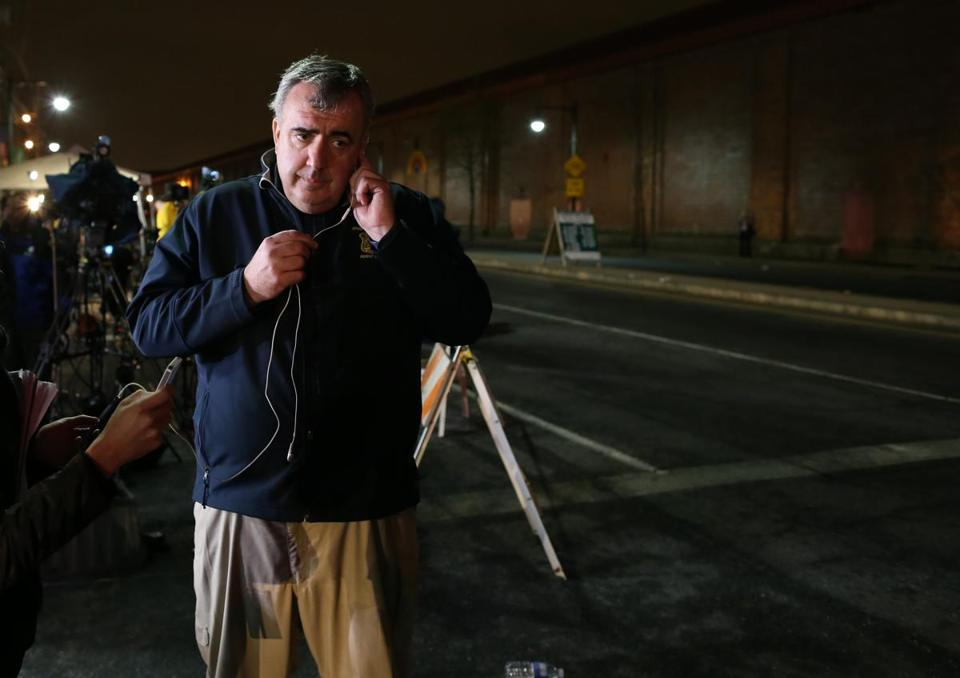 Boston Police Commissioner Ed Davis during an interview in Watertown on Friday night.