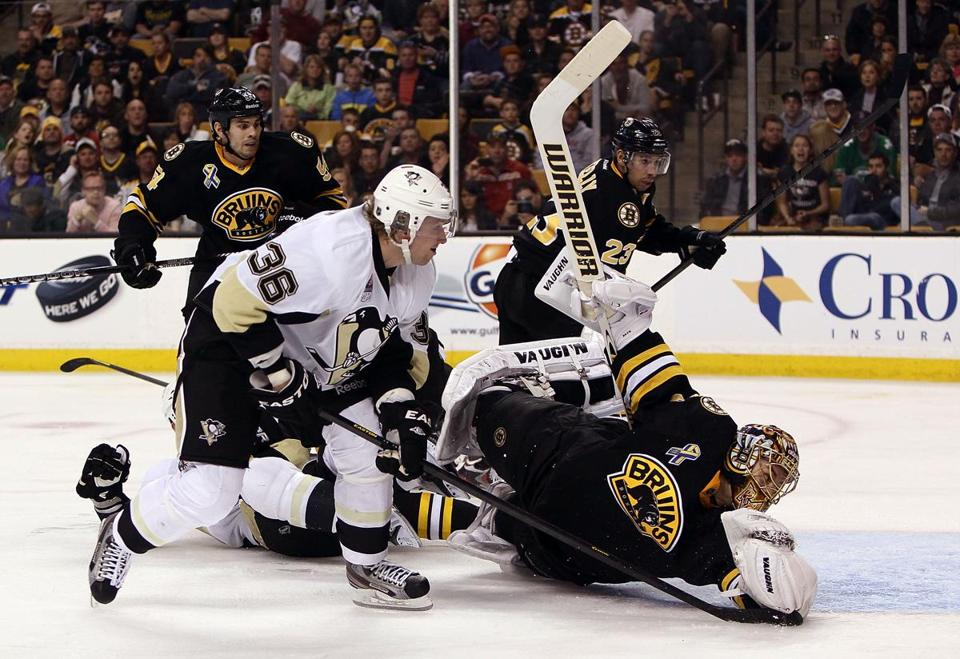 Jussi Jokinen of the Penguins scored against Tuukka Rask in the second period.