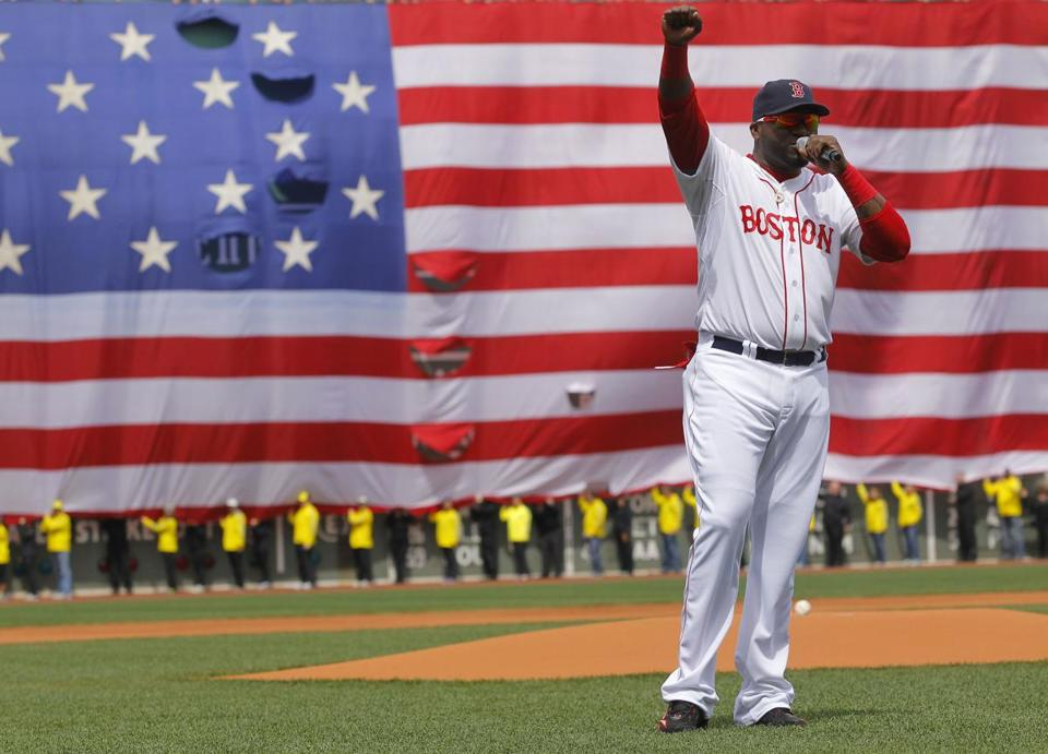 David Ortiz spoke to the crowd before the game.
