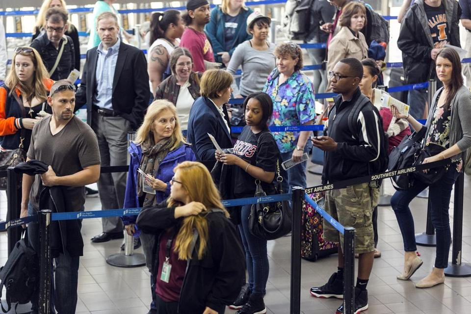 Long lines formed at Los Angeles International Airport Monday, at least partly because of furloughs for federal air traffic controllers.