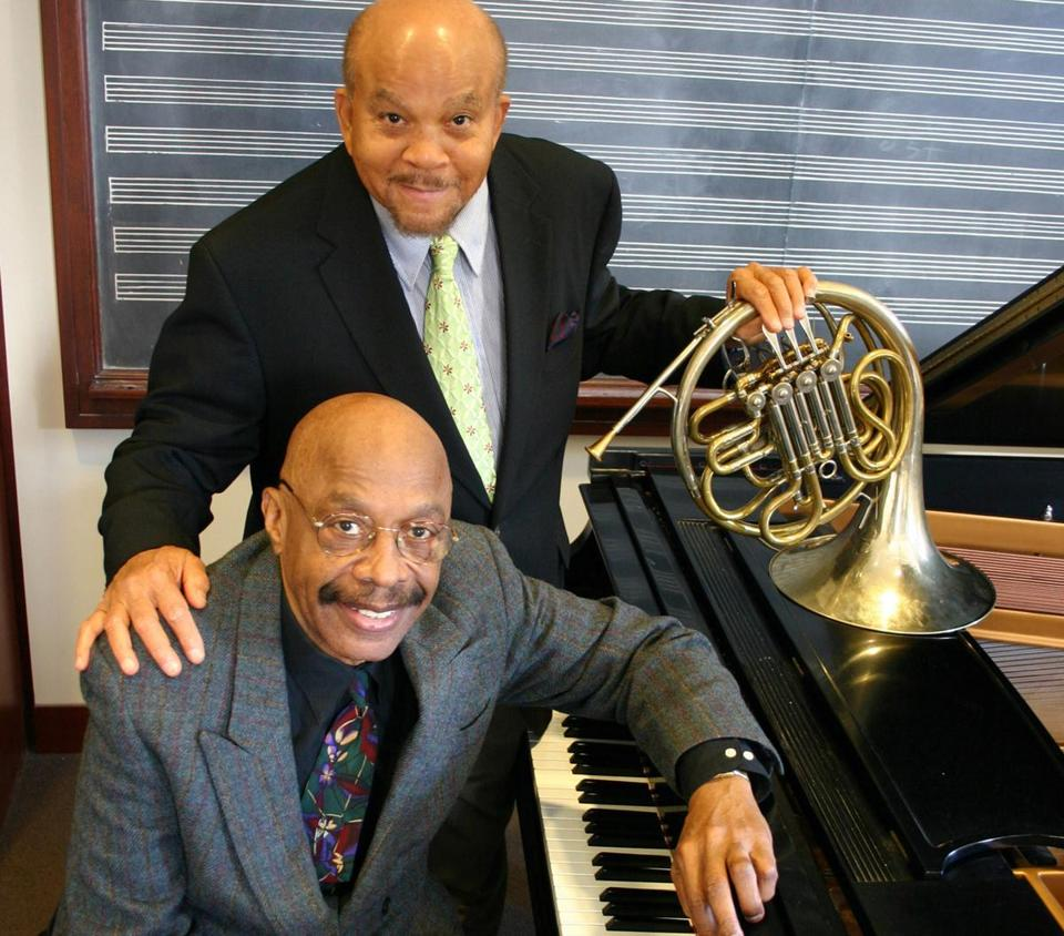 Dwike Mitchell (seated), with longtime partner Willie Ruff. They performed at thousands of schools.