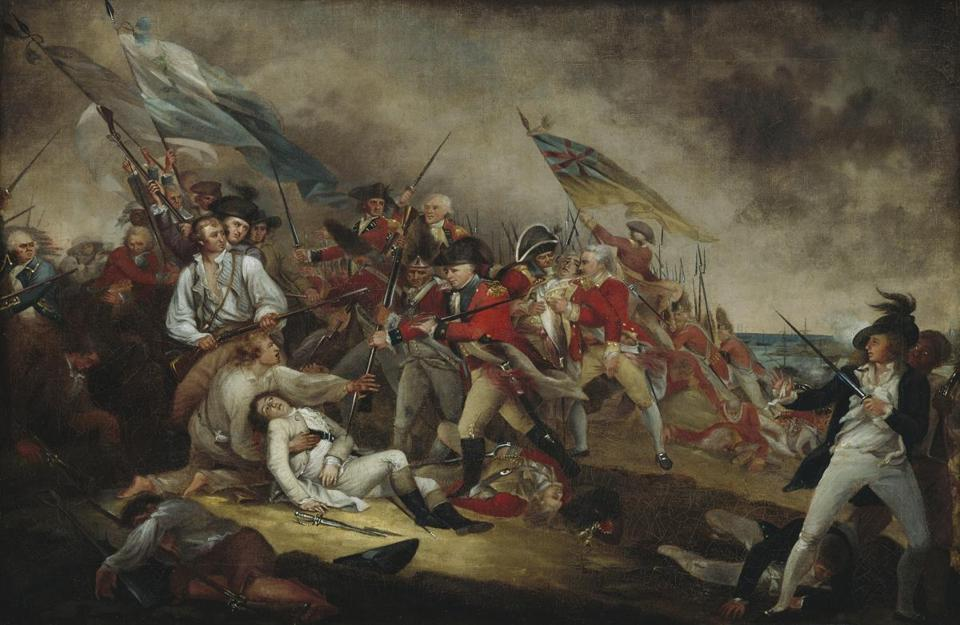 Heroic death of Joseph Warren at Bunker Hill was immortalized in this painting by John Trumbull.