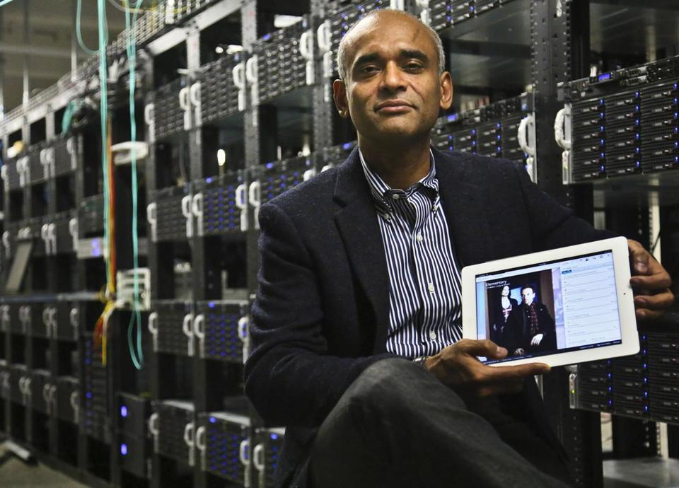 Chaitanya Kanojia, Aereo's chief executive, shows a tablet displaying his company's technology, which delivers over-the-air TV channel signals to Web-linked devices.