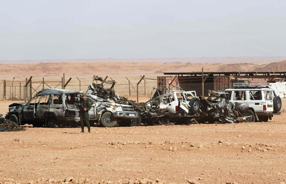 An Algerian soldier stood near damaged cars used by Islamist militants during a siege at a gas plant in January.