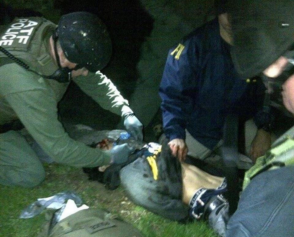 ATF and FBI agents checked suspect Dzhokhar Tsarnaev for explosives and also gave him medical attention after he was apprehended in Watertown.