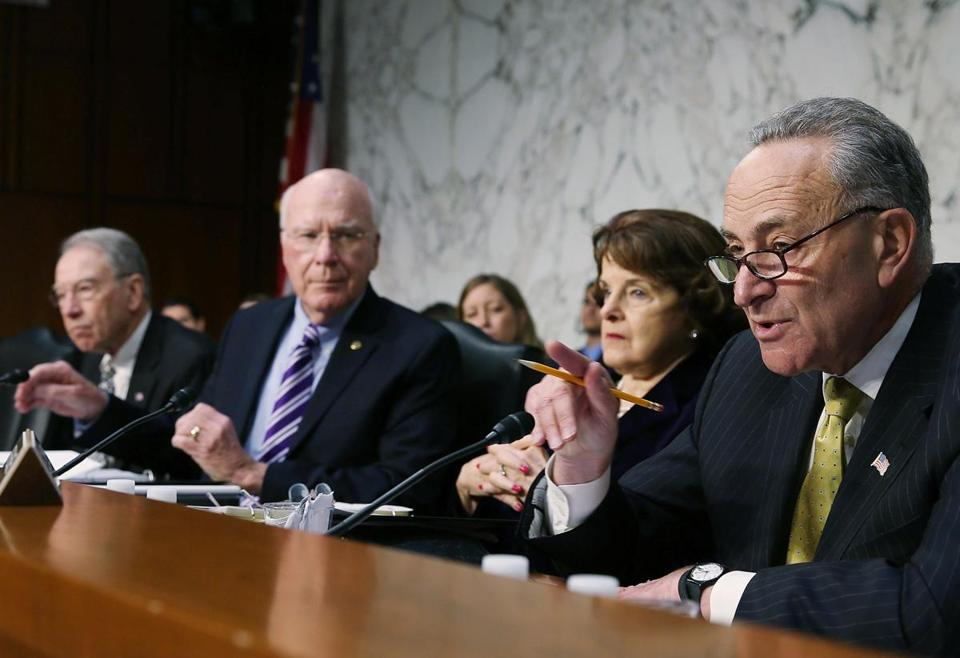 Senator Charles Schumer of New York (right) said Monday the Boston bombings were being used to stall an immigration bill, sparking angry retorts.