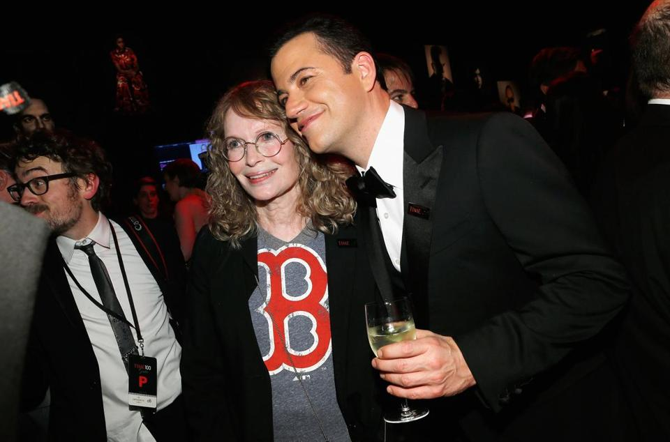 Mia Farrow and Jimmy Kimmel at the TIME 100 gala in New York.