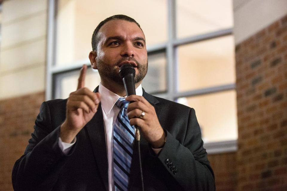 Boston city councilor-at-large Felix G. Arroyo spoke during a vigil for the Marathon bombing victims at the Islamic Society of Boston Cultural Center on April 23.