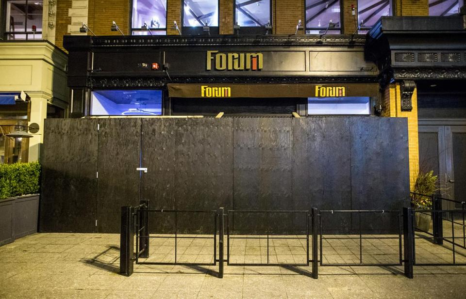 Forum, photographed shortly after Boylston Street was re-opened to the public just over a week after the Marathon bombings. The restaurant is set to re-open Thursday.