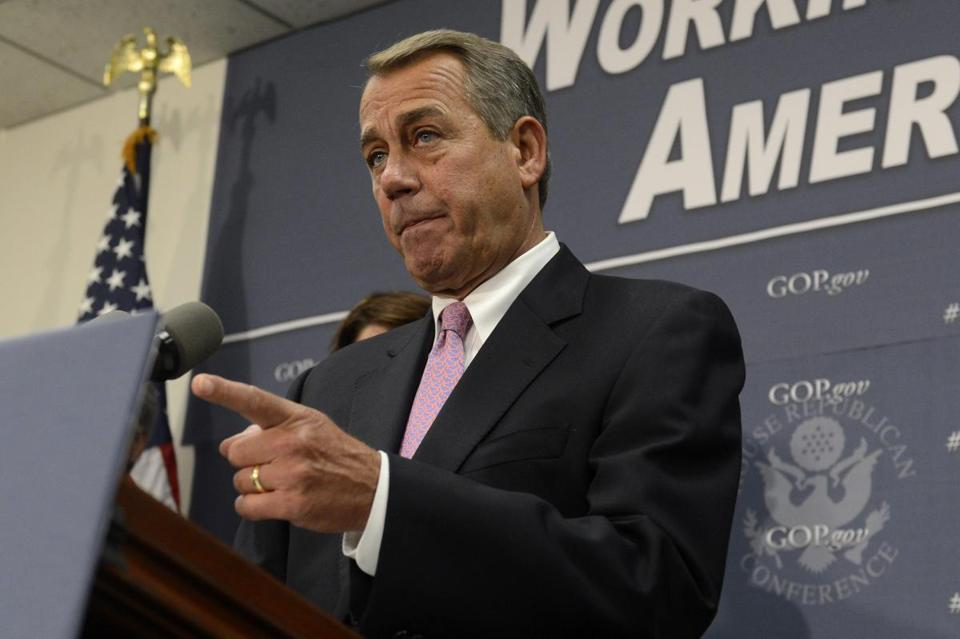 House SpeakerJohn Boehner spoke at news conference on Capitol Hill on Wednesday.