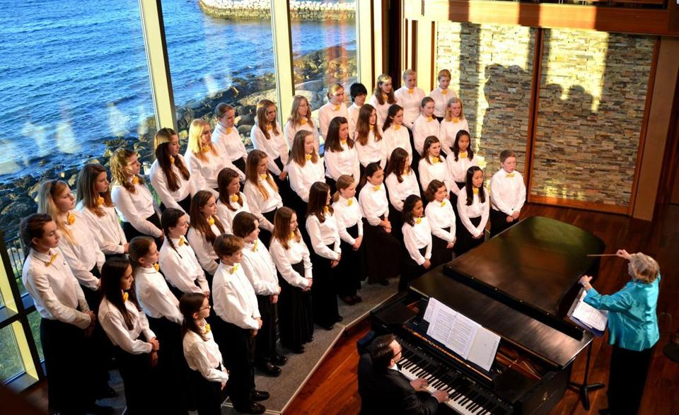 The 44-member Honors Youth Choir of Chorus North Shore performs a spring concert at the Shalin Liu Performance Center in Rockport Friday.