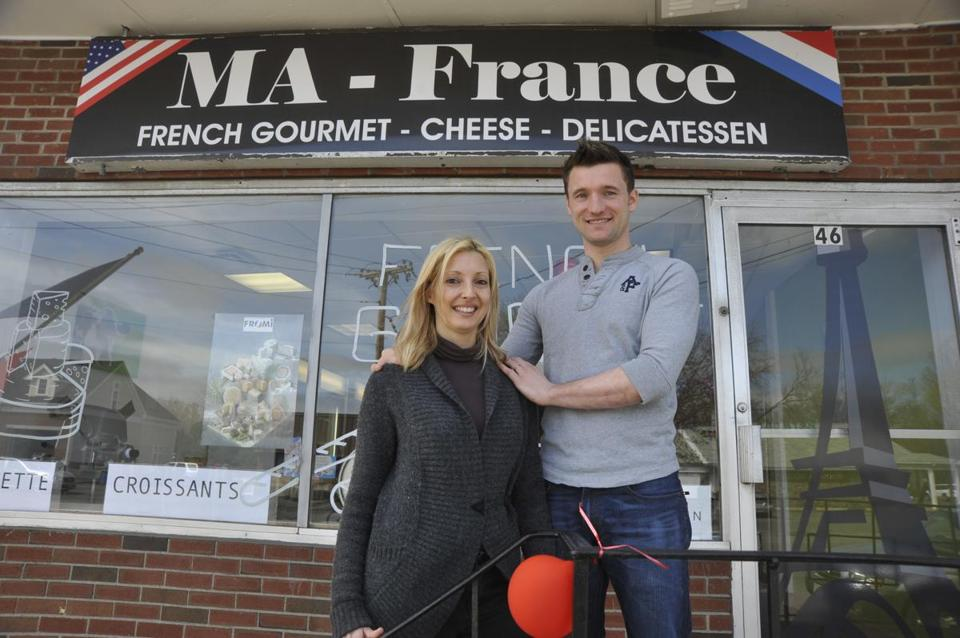 MA - France owners Cecile and Francois Attard outside their Lexington store where everything they sell is imported from France or is French-style.
