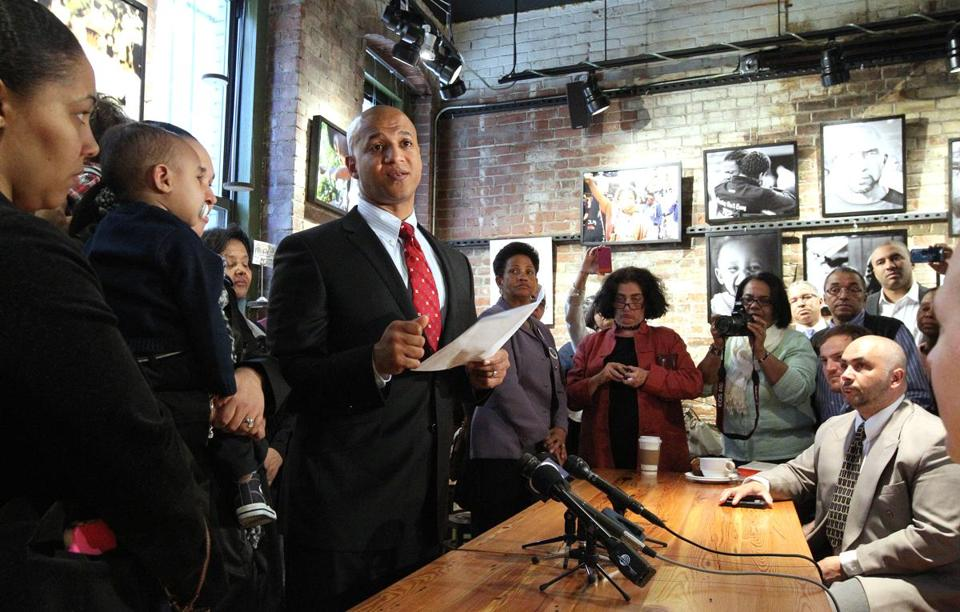 Mayoral candidate John Barros was surrounded by close friends and family during his announcement Thursday.