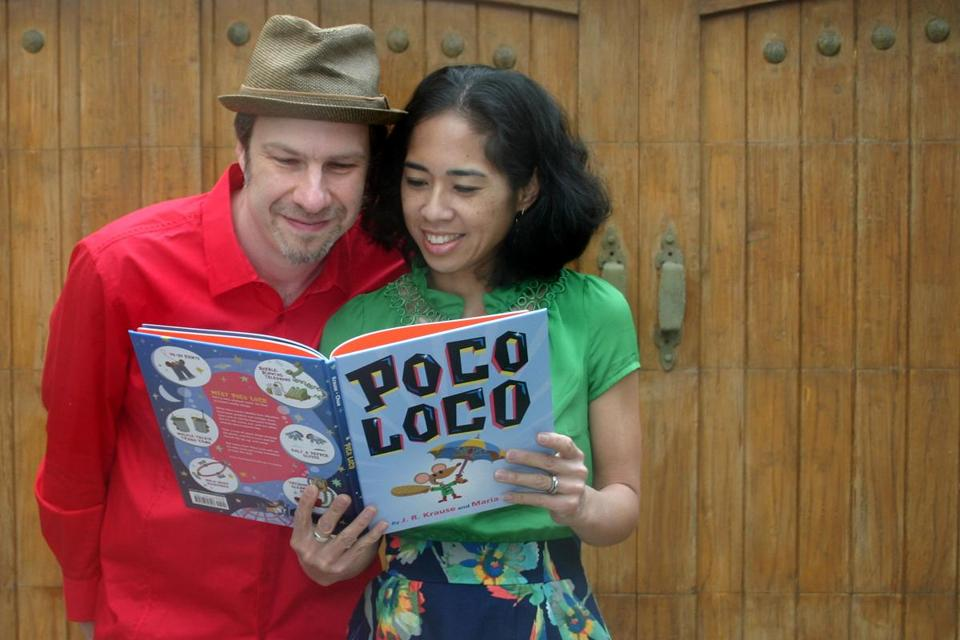 "John ""J.R."" Krause and his wife, Maria Chua, with their first children's book, published last month. Krause came to children's books through ""The Simpsons"" and graphic design."