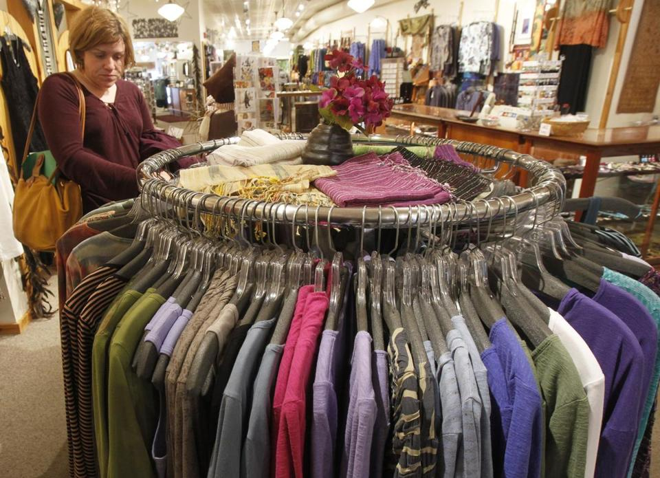A shopper looked over the clothes at a Vermont store.