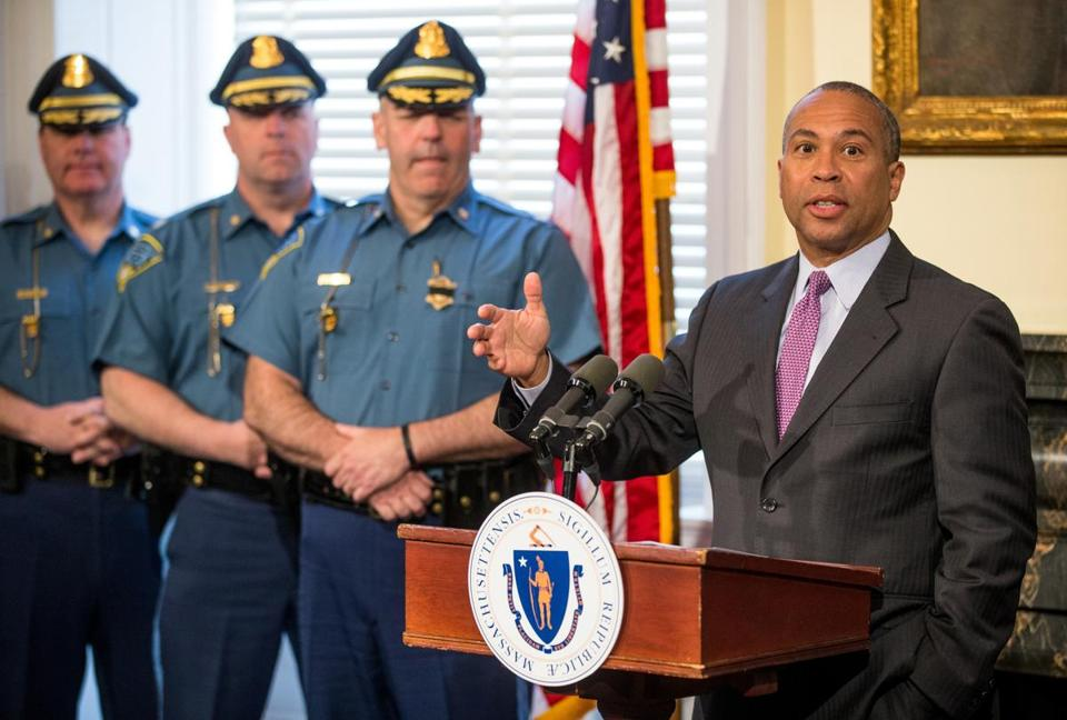 Governor Deval Patrick  spoke at the State House Firday while honoring state officials and cabinet members for their response to the Marathon bombing.