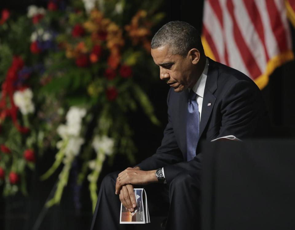 President Barack Obama attended a memorial for firefighters killed at the fertilizer plant explosion in West, Texas, at Baylor University in Waco.
