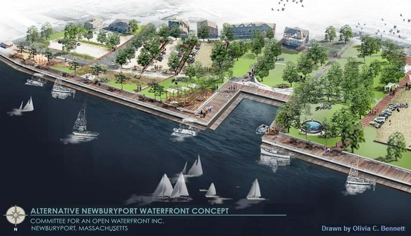 Citizens for an Open Waterfront proposes 4.2 acres of public land along the Merrimack River in downtown Newburyport be used for a park, rather than a mixed-use development.