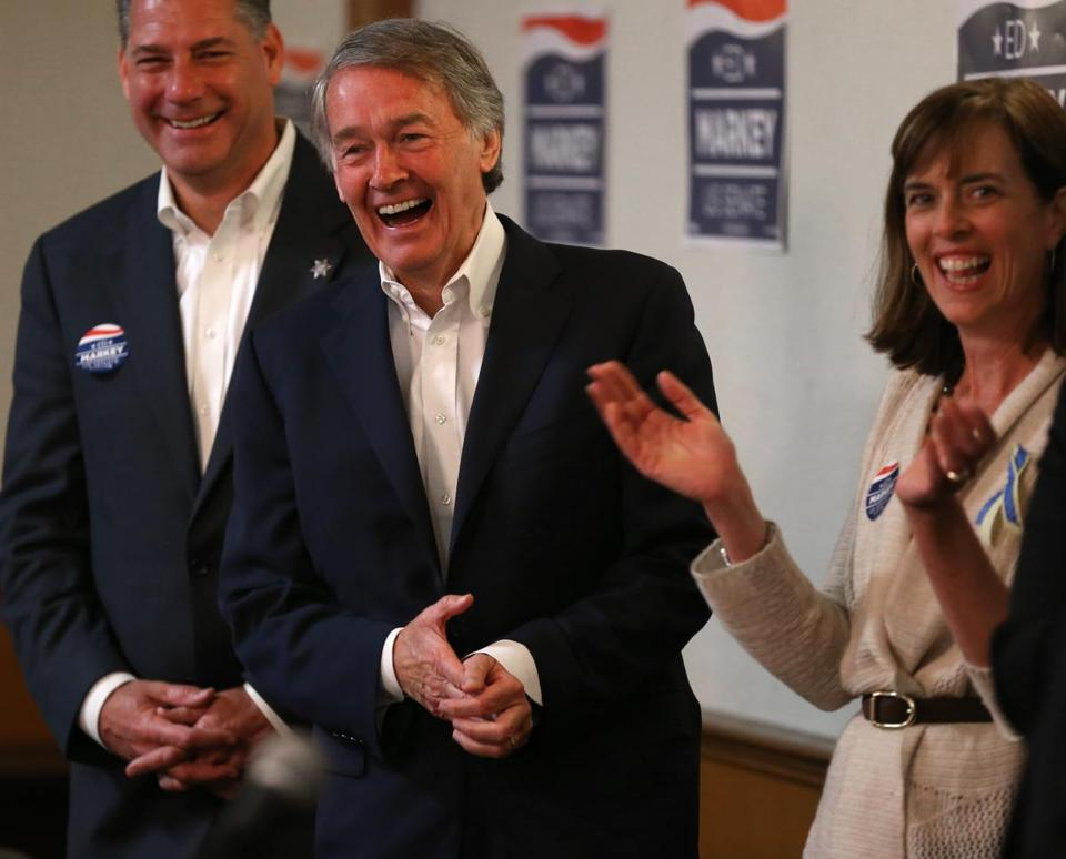 Middlesex County Sheriff Peter Koutoujian (from left), then-Congressman Edward Markey, and State Senator Katherine Clark attended an April campaign event in Arlington during the special election. Markey went on to win the seat vacated by John Kerry when he became Secretary of State.