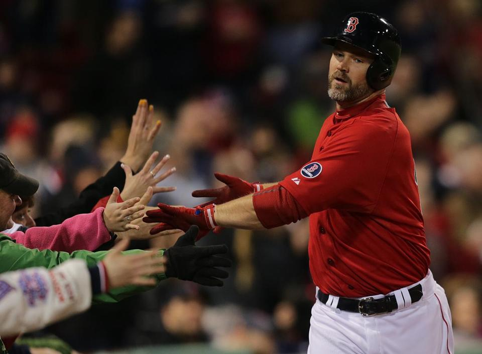 David Ross was a popular player at Fenway Friday, having blasted two homers onto Lansdowne Street and here scoring the Red Sox' final run in the eighth.