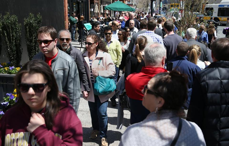 On Saturday, visitors crowded Boylston Street, which was shut until Wednesday.