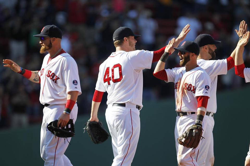 The Red Sox celebrated after notching their fifth straight win.