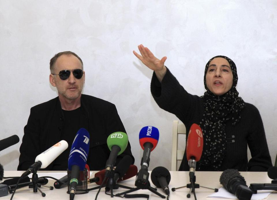 Anzor Tsarnaev and Zubeidat Tsarnaeva, parents of the bombing suspects, answered questions in Makhachkala, Russia.