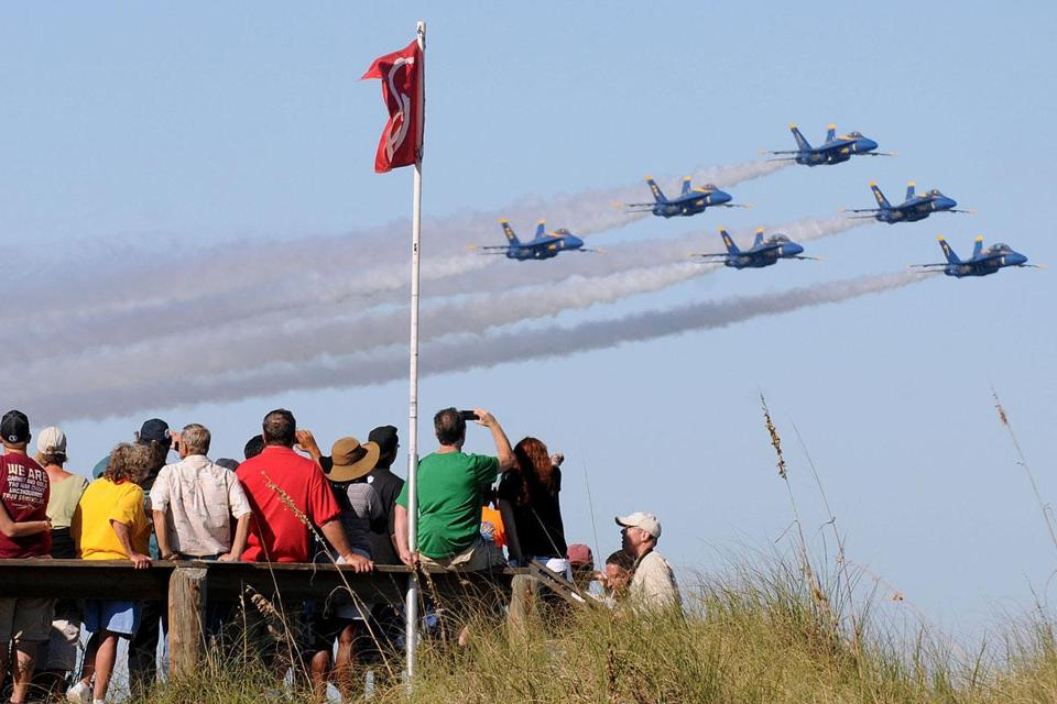 The Navy's Blue Angels flew in Jacksonville Beach, Fla., last year. The sequester has grounded performance teams.