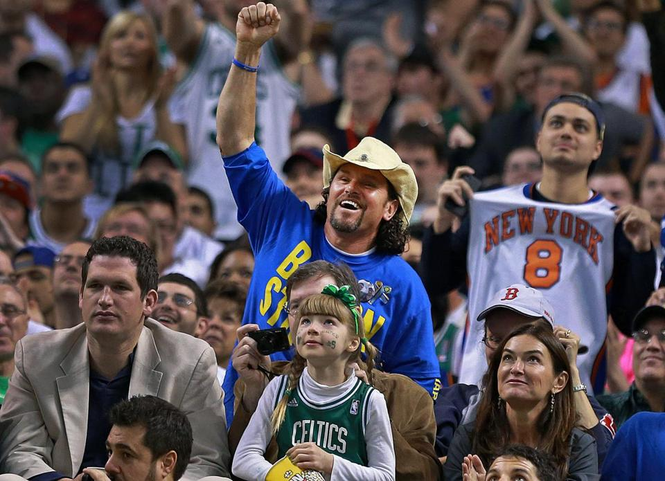 "BIG FAN: Carlos Arredondo, a hero of the Marathon Monday bombings, being named ""Fan of the Game"" at a Celtics-Knicks matchup at TD Garden."