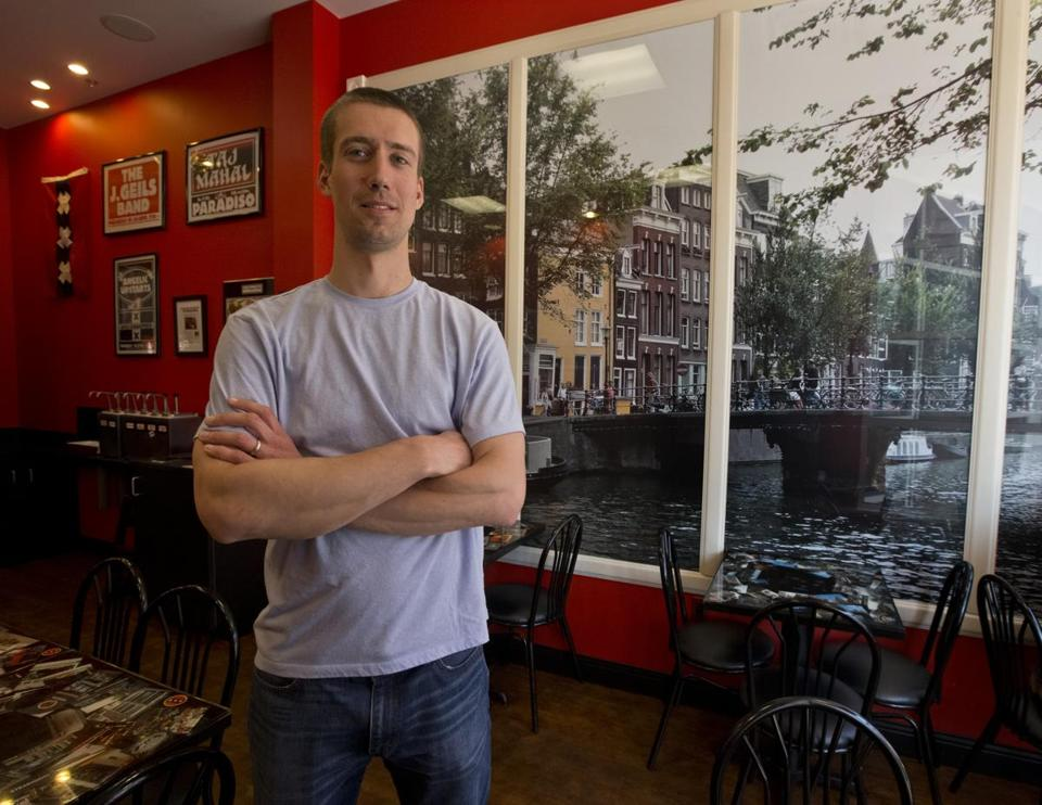 Matt D'Alessio is the owner of Amsterdam Falafelshop, which makes falafel that can be eaten with a variety of toppings (below right). French fries come with dipping sauces.