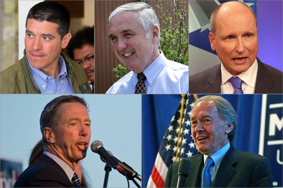 (Top row, from left) Republican candidates Gabriel Gomez, Michael Sullivan, and Daniel Winslow; (Bottom row, from left) Democratic candidates Stephen Lynch and Edward Markey.