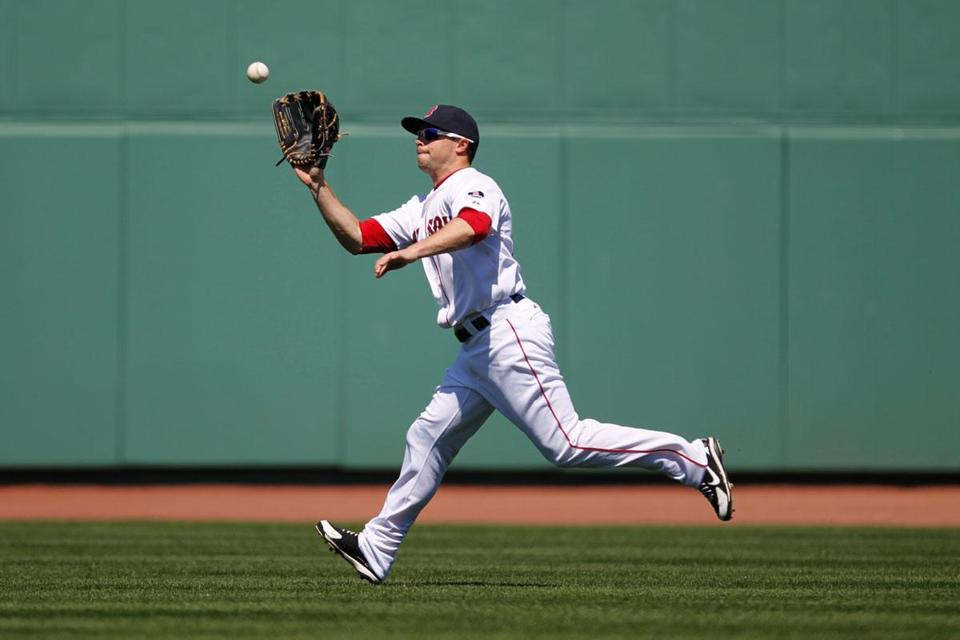 Daniel Nava showed off his improved defense Sunday with a pair of run-preventing catches in right field.