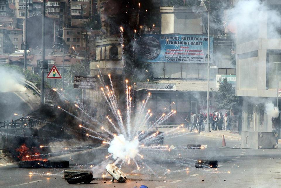 Protesters clashed with Turkish riot police during a May Day rally in Istanbul, Turkey.